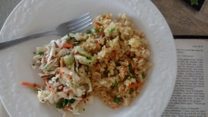 Homemade fried rice with oriental salad